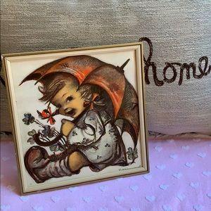 "9""x9"" Hummel girl holding umbrella ☂ wall art 🖼"